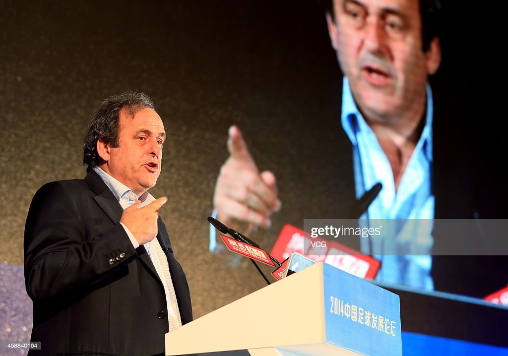 Michel Platini president of the Union of European Football Associations attends 2014 Chinese Football Development Forum at Crowne Plaza on November...