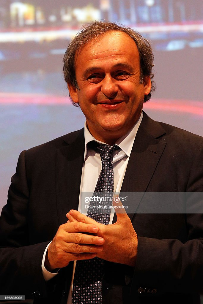 <a gi-track='captionPersonalityLinkClicked' href=/galleries/search?phrase=Michel+Platini&family=editorial&specificpeople=206862 ng-click='$event.stopPropagation()'>Michel Platini</a>, President of the Union of European Football Associations speaks to the media and guests during the UEFA Europa League trophy handover ceremony at Beurs van Berlage on April 18, 2013 in Amsterdam, Netherlands. Amsterdam Arena will host the final of the UEFA Europa League on May 15.