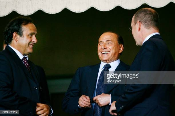 Michel PLATINI / Silvio BERLUSCONI / Albert de Monaco Milan AC / FC Seville Finale de la Super Coupe d'Europe Monaco