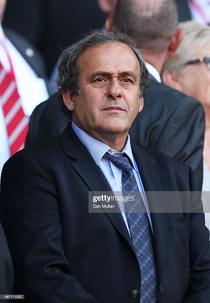 <a gi-track='captionPersonalityLinkClicked' href=/galleries/search?phrase=Michel+Platini&family=editorial&specificpeople=206862 ng-click='$event.stopPropagation()'>Michel Platini</a> the President of UEFA watches the action during the UEFA EURO 2016 group B qualifying match between Wales and Israel at Cardiff City Stadium on September 6, 2015 in Cardiff, United Kingdom.