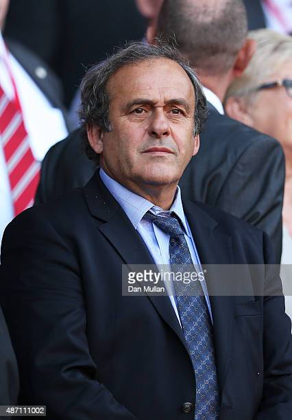 Michel Platini the President of UEFA watches the action during the UEFA EURO 2016 group B qualifying match between Wales and Israel at Cardiff City...