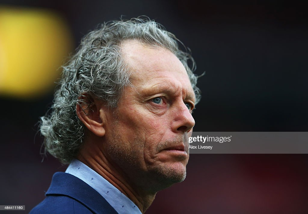 <a gi-track='captionPersonalityLinkClicked' href=/galleries/search?phrase=Michel+Preud%27homme&family=editorial&specificpeople=2514028 ng-click='$event.stopPropagation()'>Michel Preud'homme</a>, coach of Club Brugge looks on during the UEFA Champions League Qualifying Round Play Off First Leg match between Manchester United and Club Brugge at Old Trafford on August 18, 2015 in Manchester, England.