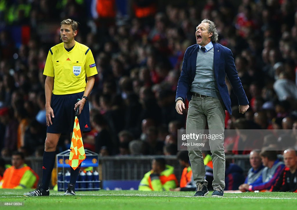 <a gi-track='captionPersonalityLinkClicked' href=/galleries/search?phrase=Michel+Preud%27homme&family=editorial&specificpeople=2514028 ng-click='$event.stopPropagation()'>Michel Preud'homme</a>, coach of Club Brugge shouts instructions during the UEFA Champions League Qualifying Round Play Off First Leg match between Manchester United and Club Brugge at Old Trafford on August 18, 2015 in Manchester, England.