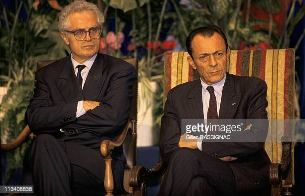 Michel Rocard And Lionel Jospin Montpellier On October 26th 1989 In Montpellier France