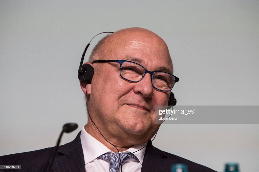 Michel Sapin, France's finance minister, reacts as he addresses a Deutsche Bundesbank conference in Frankfurt, Germany, on Thursday, July 9, 2015. German Finance Minister Wolfgang Schaeuble says he told Greece 'just do it' with regard to outlining latest aid proposals. Photographer: Martin Leissl/Bloomberg via Getty Images