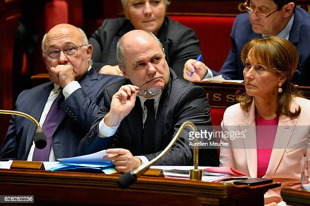 Michel Sapin French Minister of Finance and the Public Accounts French Minister of Interior Bruno Le Roux and Segolene Royal French Minister of...