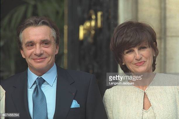Michel Sardou with his new wife AnneMarie Périer Editor of Elle magazine