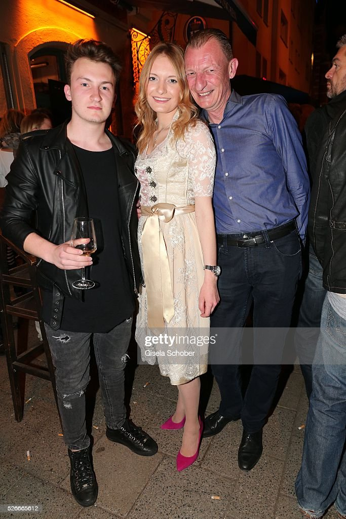 Michel Schwarz with his children, son Nicolas Schwarz and daughter Mayla Schwarz,during the 11th anniversary 'Highway to Helles' of 'Bachmaier Hofbraeu' in Munich on April 30, 2016 in Munich, Germany.