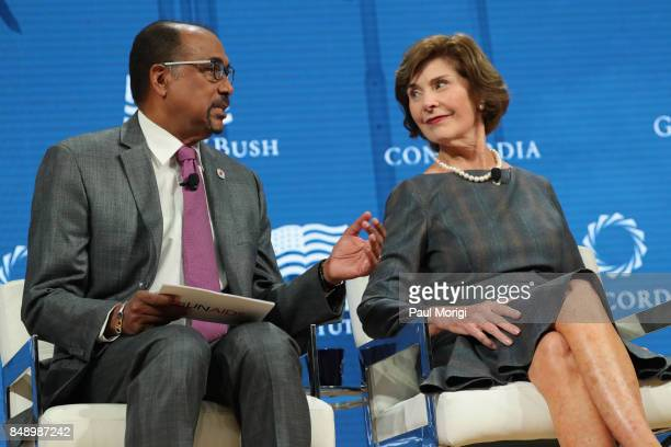Michel Sidibe Executive Director UNAIDS and Laura Bush Former First Lady United States of America speak at The 2017 Concordia Annual Summit at Grand...