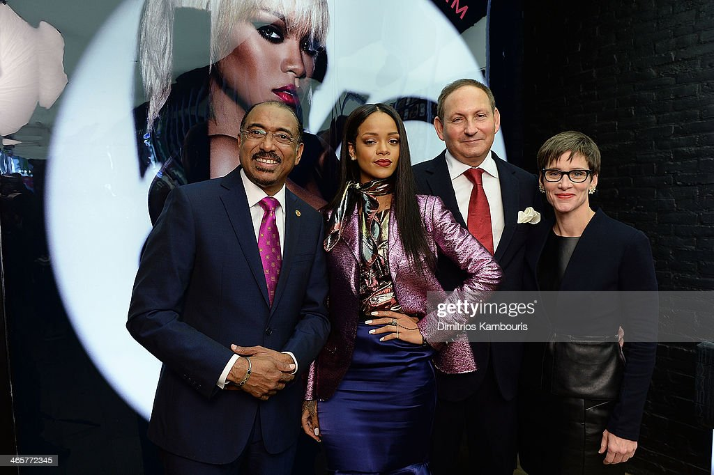 Michel Sidibe Executive Director UNAIDS, Singer <a gi-track='captionPersonalityLinkClicked' href=/galleries/search?phrase=Rihanna&family=editorial&specificpeople=453439 ng-click='$event.stopPropagation()'>Rihanna</a>, <a gi-track='captionPersonalityLinkClicked' href=/galleries/search?phrase=John+Demsey&family=editorial&specificpeople=215290 ng-click='$event.stopPropagation()'>John Demsey</a>, Chairman, M-A-C AIDS Fund and Group President, The Estee Lauder Companies and Nancy Mahon, global executive director, MAC AIDS Fund attend the MAC Cosmetics Launch of Viva Glam <a gi-track='captionPersonalityLinkClicked' href=/galleries/search?phrase=Rihanna&family=editorial&specificpeople=453439 ng-click='$event.stopPropagation()'>Rihanna</a> at MAC Store Soho on January 29, 2014 in New York City.