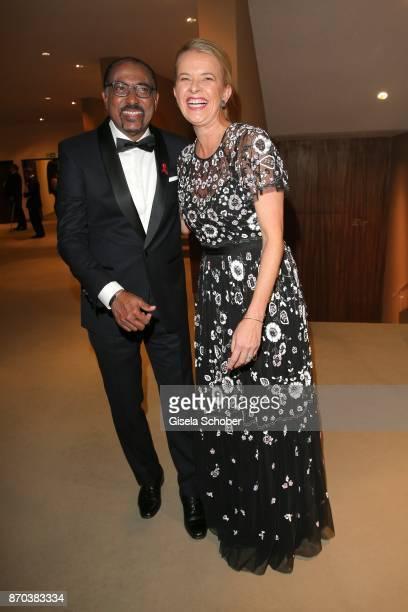 Michel Sidibe Unaids Executive Director IKH Princess Mabel von OranienNassau Mabel Wisse Smit widow of Prince Johan Friso von OranienNassau during...