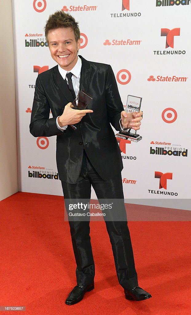 Michel Telo poses backstage at Billboard Latin Music Awards 2013 at Bank United Center on April 25, 2013 in Miami, Florida.