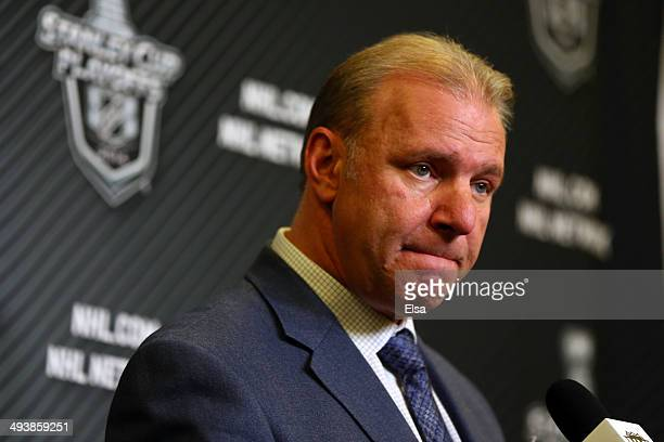 Michel Therrien head coach of the Montreal Canadiens speaks during a press conference after Game Four of the Eastern Conference Final in the 2014 NHL...