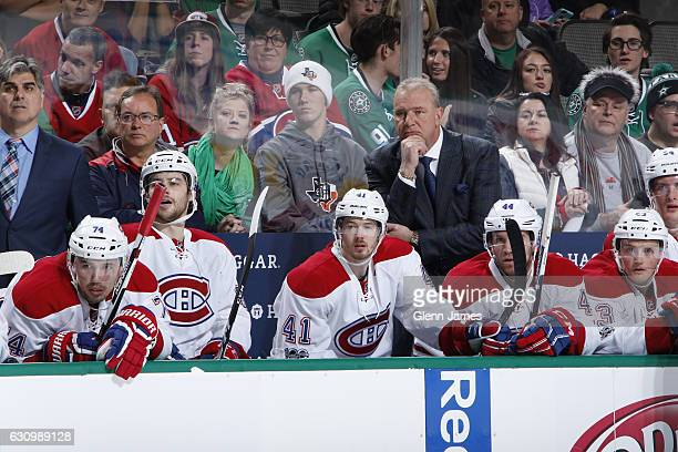 Michel Therrien head coach of the Montreal Canadiens watches the action from the bench against the Dallas Stars at the American Airlines Center on...