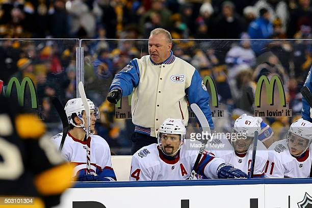Michel Therrien of the Montreal Canadiens looks on from the bench with his team in the third period against the Boston Bruins during the 2016...