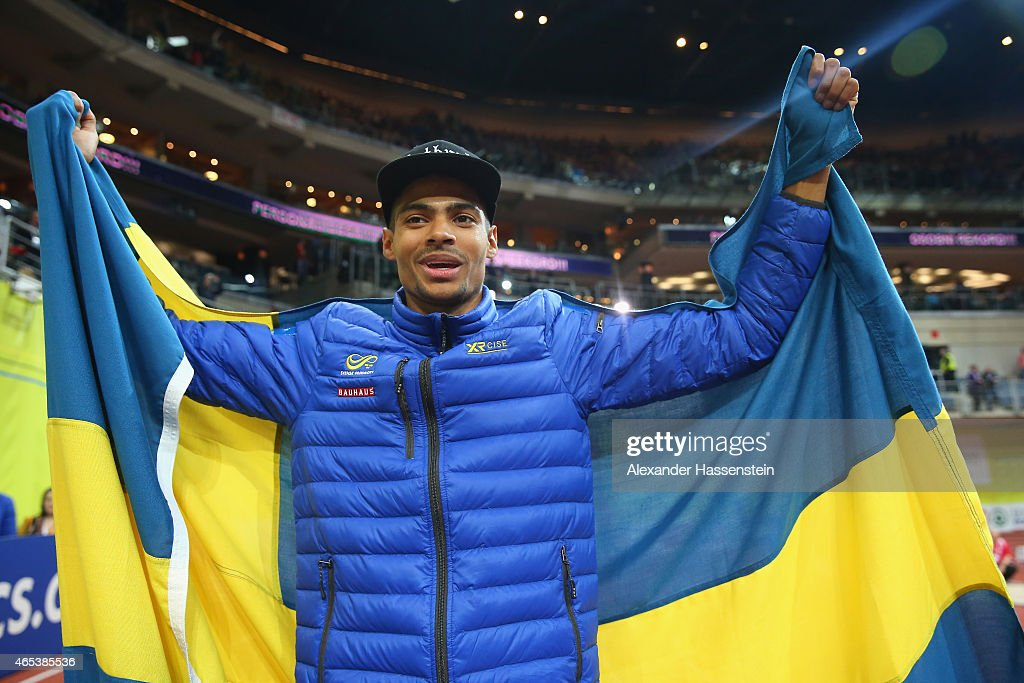 Michel Torneus of Sweden celebrates after winning gold in the Men's Long Jump Final during day one of the 2015 European Athletics Indoor Championships at O2 Arena on March 6, 2015 in Prague, Czech Republic.