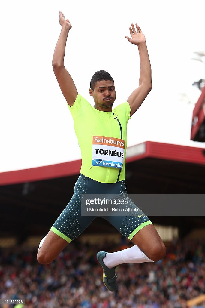 Michel Torneus of Sweden competes in the Men's Long Jump during the Sainsbury's Birmingham Grand Prix Diamond League event at Alexander Stadium on August 24, 2014 in Birmingham, England.