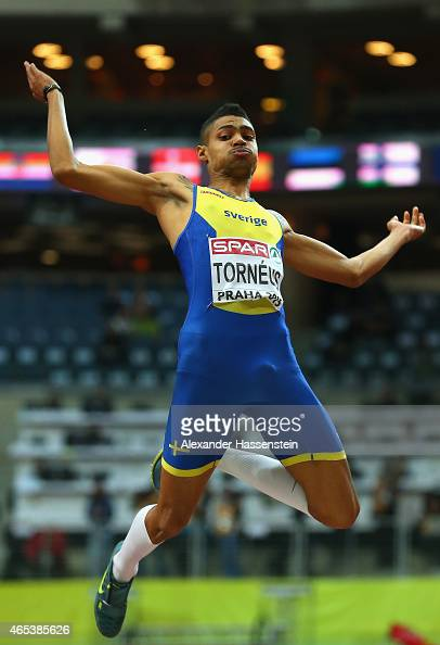 Michel Torneus of Sweden competes in the Men's Long Jump Final during day one of the 2015 European Athletics Indoor Championships at O2 Arena on...