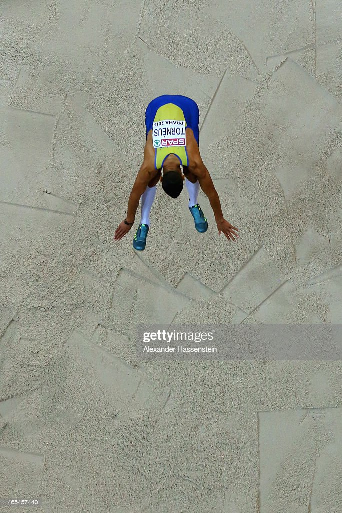 Michel Torneus of Sweden competes in the Men's Long Jump Final during day one of the 2015 European Athletics Indoor Championships at O2 Arena on March 6, 2015 in Prague, Czech Republic.
