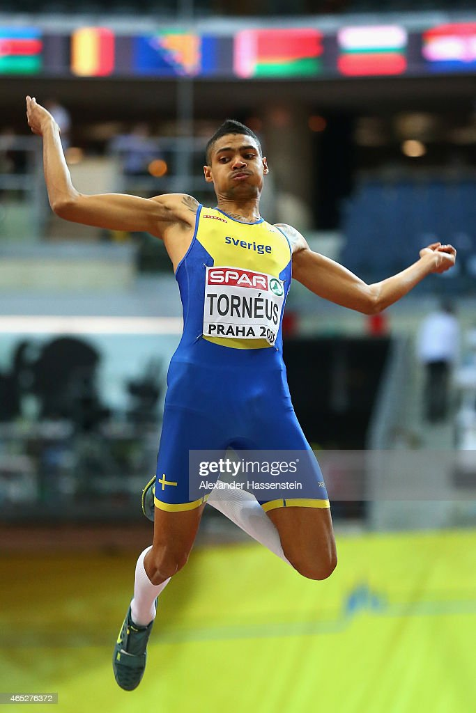 Michel Torneus of Sweden competes in the Men's Long Jump qualification during 2015 European Athletics Indoor Championships at O2 Arena on March 5, 2015 in Prague, Czech Republic.