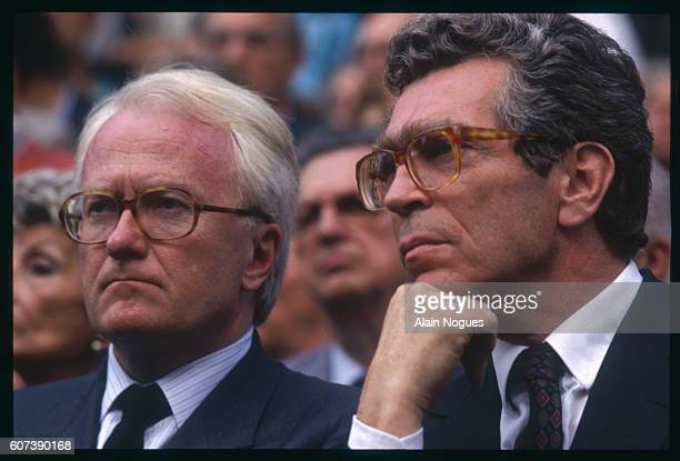 Michel Vauzelle and Pierre Joxe at the anniversary remembrance of the raid on Paris from July 1617 1942 during which 13152 Jews were deported to...