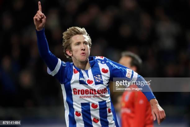 Michel Vlap of SC Heerenveen celebrates 10 during the Dutch Eredivisie match between SC Heerenveen v PEC Zwolle at the Abe Lenstra Stadium on...