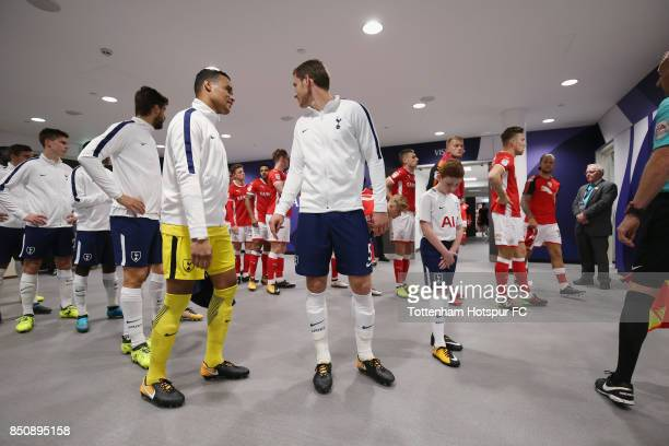Michel Vorm and Jan Vertonghen of Tottenham Hotspur in the tunnel prior to the Carabao Cup Third Round match between Tottenham Hotspur and Barnsley...