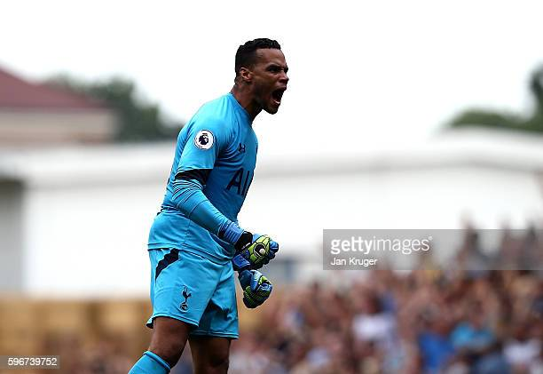Michel Vorm of Tottenham Hotspur celebrates the equaliser during the Premier League match between Tottenham Hotspur and Liverpool at White Hart Lane...