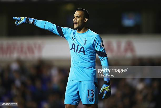 Michel Vorm of Tottenham Hotspur in action during the EFL Cup Third Round match between Tottenham Hotspur and Gillingham at White Hart Lane on...