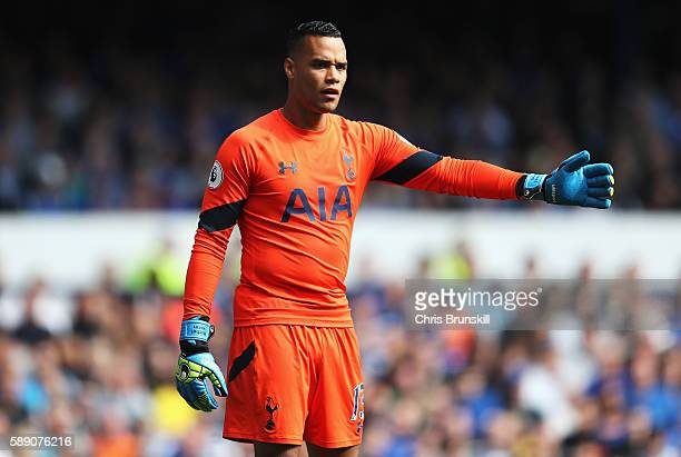 Michel Vorm of Tottenham Hotspur in action during the Premier League match between Everton and Tottenham Hotspur at Goodison Park on August 13 2016...