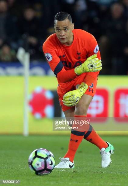 Michel Vorm of Tottenham Hotspur in action during the Premier League match between Swansea City and Tottenham Hotspur at The Liberty Stadium on April...