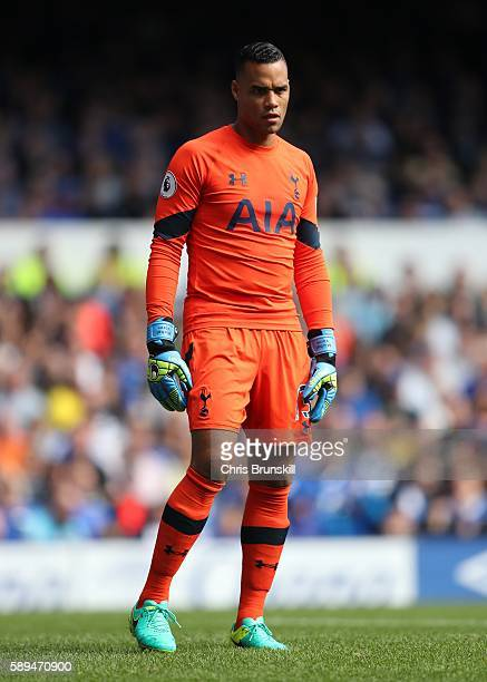 Michel Vorm of Tottenham Hotspur looks on during the Premier League match between Everton and Tottenham Hotspur at Goodison Park on August 13 2016 in...