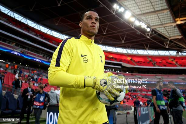 Michel Vorm of Tottenham Hotspur walks out to warm up prior to the UEFA Champions League group H match between Tottenham Hotspur and Borussia...