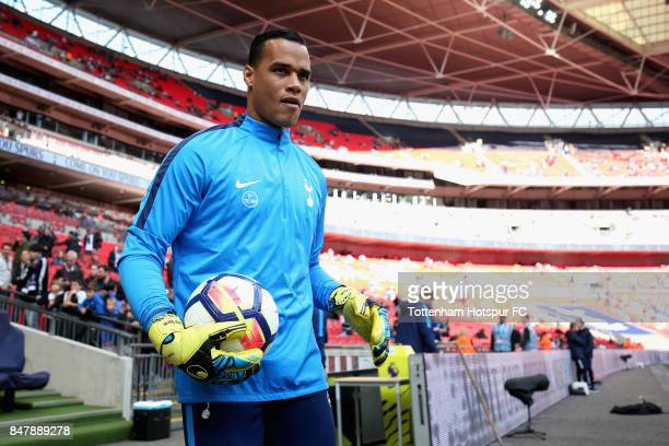 Michel Vorm of Tottenham Hotspur walks out to warm up prior to the Premier League match between Tottenham Hotspur and Swansea City at Wembley Stadium...