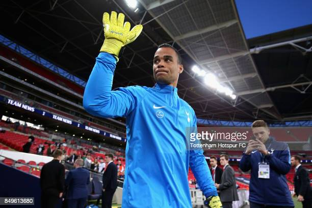 Michel Vorm of Tottenham Hotspur walks out to warm up prior to the Carabao Cup Third Round match between Tottenham Hotspur and Barnsley at Wembley...