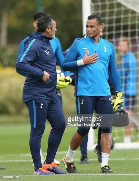 Michel Vorm of Tottenham with goalkeeping coach Toni Jimenez during the Tottenham Hotspur training session at Tottenham Hotspur Training Centre on...