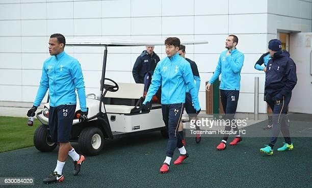 Michel Vorm Son Heungmin and Pau Lopez of Tottenham during the Tottenham Hotspur training session at Tottenham Hotspur Training Centre on December 16...