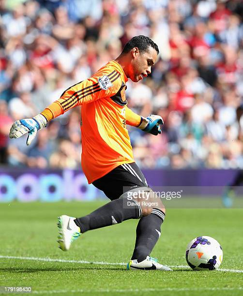 Michel Vorm the Swansea City goalkeeper kicks the ball upfield during the Barclays Premier League match between West Bromwich Albion and Swansea City...