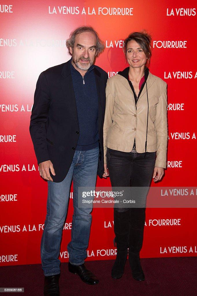 Michel Vuillermoz and Laurence Colussi attend 'La Venus A La Fourrure' (Venus In Fur) Premiere at Cinema Gaumont Marignan, in Paris.