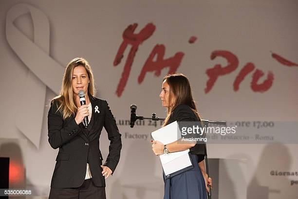 Michela Cerruti and Camilla Raznovich attend the show 'MaiPiù' organised by ACEA ahead of the International Day against Violence on Women