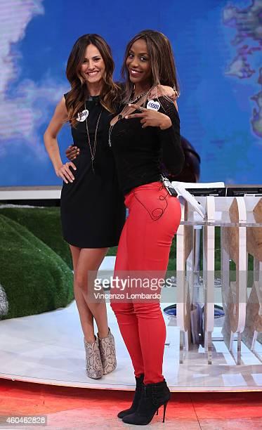 Michela Coppa and Ainett Stephens attend the 'Quelli Che Il Calcio' Tv Show on December 14 2014 in Milan Italy