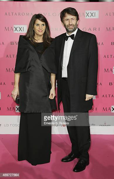 Michela Di Biase and Minister of Culture Dario Franceschini attend the MAXXI Gala Dinner photocall at Maxxi Museum on November 29 2014 in Rome Italy