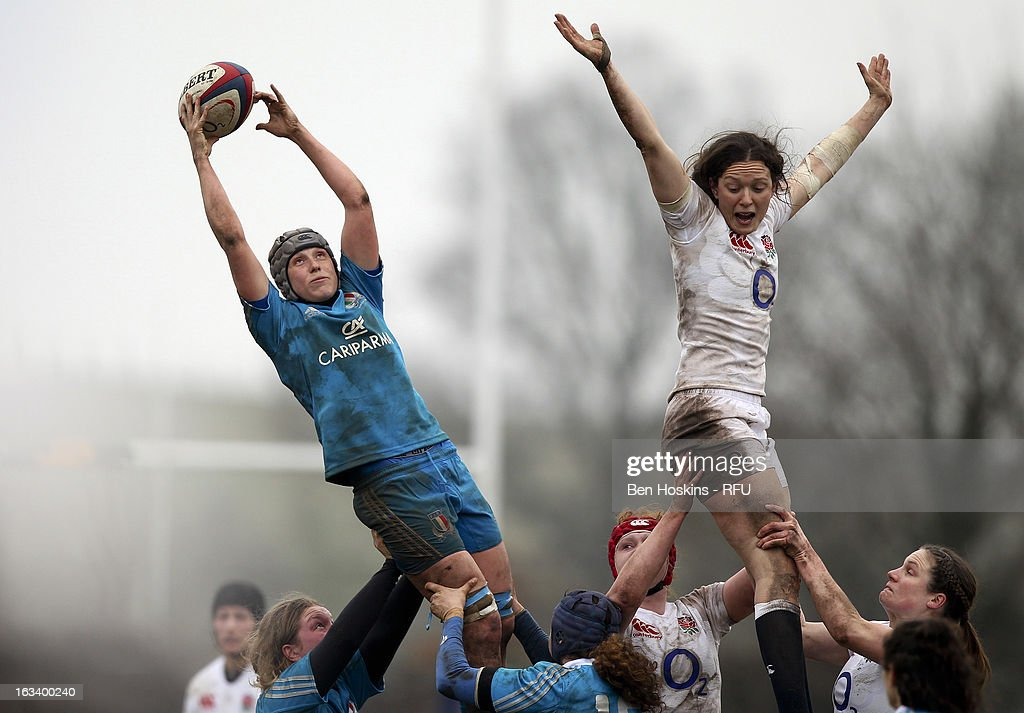 Michela Este of Italy claims line out ball during the Women's RBS Six Nations match between England and Italy at Esher Rugby Club on March 09, 2013 in Esher, England.