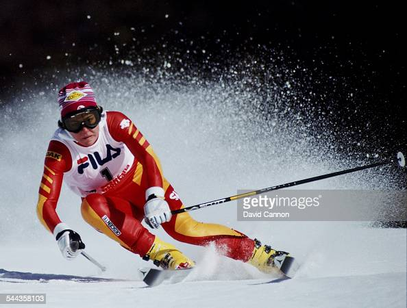 Michela Figini of Switzerland during the International Ski Federation Women's Giant Slalom at the FIS Alpine World Ski Championship on 5 February...