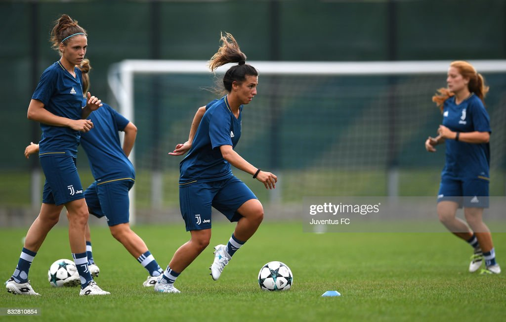 Michela Franco (C) of Juventus Women during a training session on August 16, 2017 in Aymavilles near Aosta, Italy.