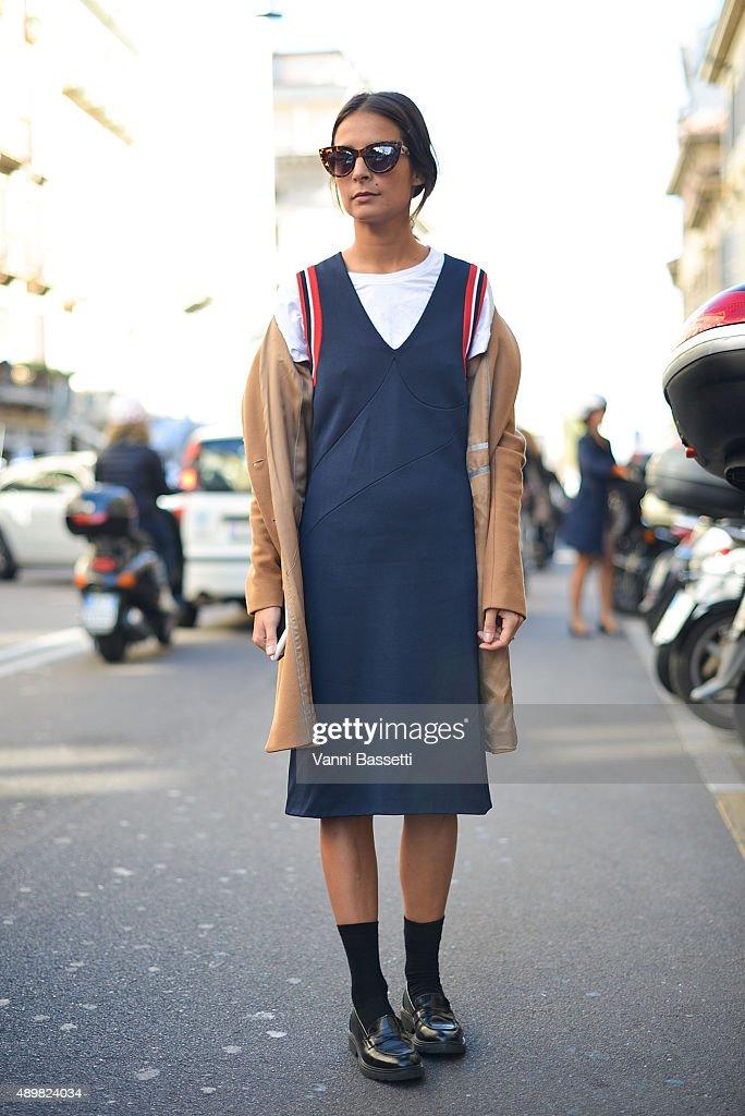 Michela Meni poses wearing a Prada dress before the Max Mara show during the Milan Fashion Week Spring/Summer 16 on September 24 2015 in Milan Italy