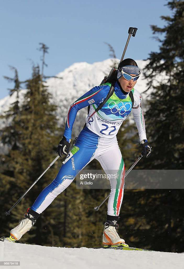 <a gi-track='captionPersonalityLinkClicked' href=/galleries/search?phrase=Michela+Ponza&family=editorial&specificpeople=813639 ng-click='$event.stopPropagation()'>Michela Ponza</a> of Italy competes during the Biathlon Women's 15 km individual on day 7 of the 2010 Vancouver Winter Olympics at Whistler Olympic Park Biathlon Stadium on February 18, 2010 in Whistler, Canada.