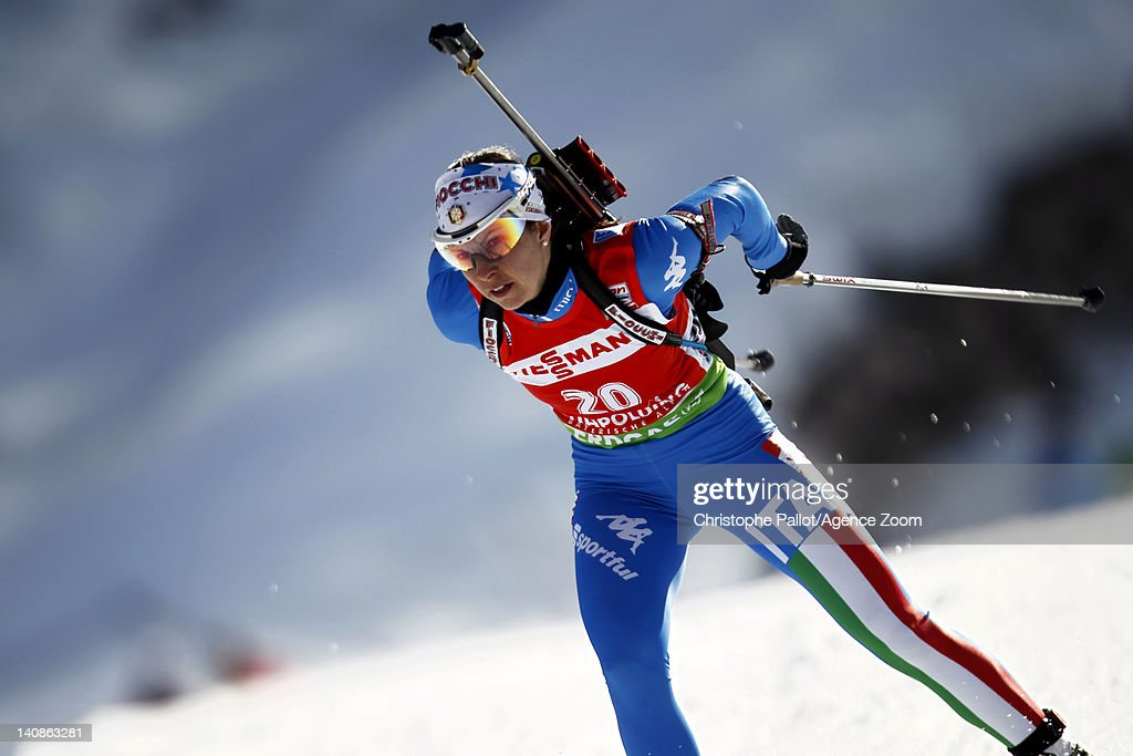 <a gi-track='captionPersonalityLinkClicked' href=/galleries/search?phrase=Michela+Ponza&family=editorial&specificpeople=813639 ng-click='$event.stopPropagation()'>Michela Ponza</a> of Italy competes during the IBU Biathlon World Championships Women's Distance on March 07, 2012 in Ruhpolding, Germany.