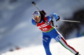 Michela Ponza of Italy competes during the IBU Biathlon World Championships Women's Distance on March 07 2012 in Ruhpolding Germany