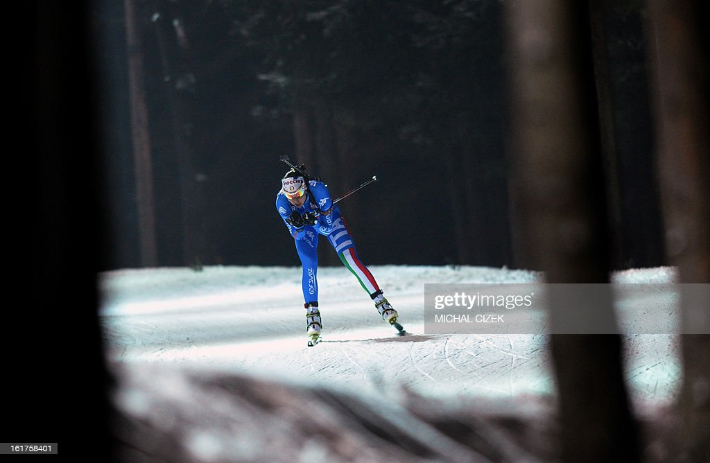 Michela Ponza of Italy competes during the Women 4x6km relay event of the IBU Biathlon World Championships in Nove Mesto, Czech Republic, on February 15, 2013. Norway's won the event ahead of Ukraine (2nd) and Italy (3rd).